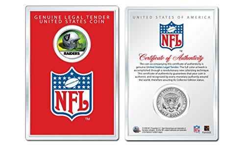 OAKLAND RAIDERS NFL Helmet JFK Half Dollar US Coin w/Display Case LICENSED