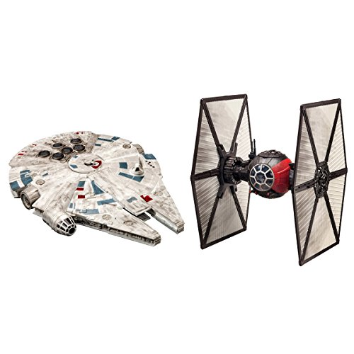 Star Wars Battle Pack Model Kit with 15 piece First Order Special Forces TIE Fighter and 19 piece Millennium Falcon (Model Together Kits Snap)
