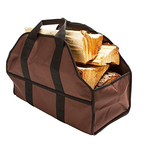 Firewood Carrier Log Bag Large Capacity Premium Firewood Carrier Log Tote Firewood Bag &Wood Holder Wood Log Carrier (Brown)