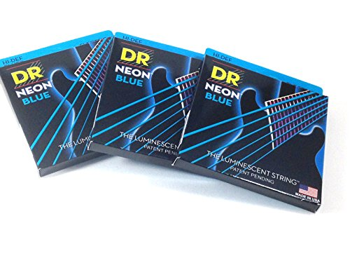 DR Guitar Strings 3 Pack Electric Neon Blue 09-46 Light Tops