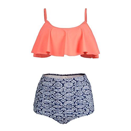 PZZ BEACH High Waist Swimsuits Flouncing Two Piece Womens Beachwear Bikini - 2 Shipping Suits Bathing Day