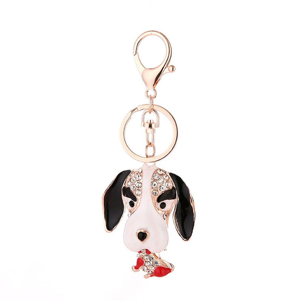 Acamifashion Cute Dog Rhinestone Keyring Unisex Key Chain Bag Hanging Decor Gift