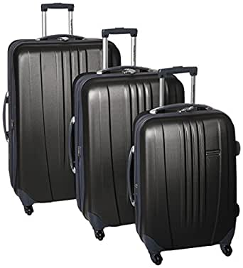 Traveler's Choice Toronto hardside lightweight expandable spinner 3-Piece luggage set - Black ( 21-Inch , 25-Inch And 29-Inch )
