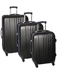 Travelers Choice Luggage Toronto Three-Piece Hardside Spinner Luggage, One Size (Black)