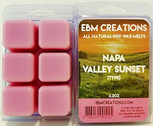 Napa Valley Sunset (Type) - Scented All Natural Soy Wax Melts - 6 Cube Clamshell 3.2oz Highly Scented!