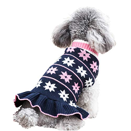 kyeese Dog Sweater Dress Turtleneck Dog Sweater with Leash Hole Knit Pullover Warm for Winter