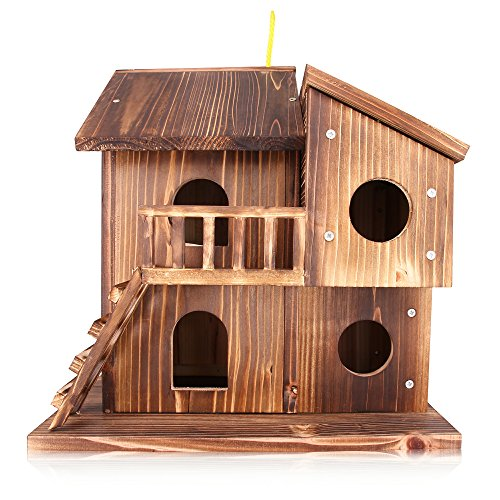 QTMY Preservative Large Wood Bird Houses for Outside Hanging Garden Decor,Birds Nest Box,Bird House Kits to Build