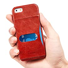 iPhone SE/5s Case, Benuo [Retro Series] 100% Genuine Leather Back cover with 1 Card Slot for iPhone 5/5s (Red)