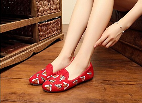 Lazutom , Mocassins pour femme rouge Red