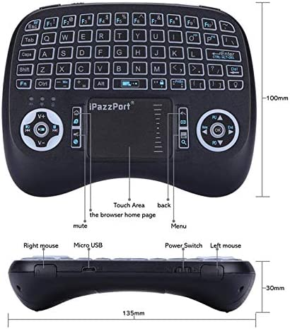 Color: German Calvas Backlight Wireless Mini Keyboard Backlit English Russian Spanish 2.4GHz Keyboard Air Mouse with battery Touchpad for Android box