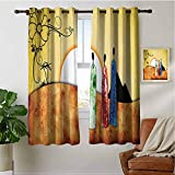 PRUNUSHOME Tribe Facing Sunrise Curtains for Kitchen Window, Microfiber 3 Layers High Density & Noise Reduction Fabric, Living Room Bedroom Window Drapes(Set of 2 Panels,42 by 90 Inch)