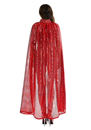 Adult Women Long Maxi Paillette Cosplay Cape Halloween Xmas Party Sequins -