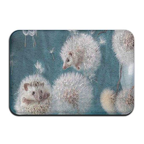 Audieru Entry Way Door Mat Rug With Non Slip Backing Dandelion Hedgehog Indoor Doormat For Kitchen,Bath,Pet