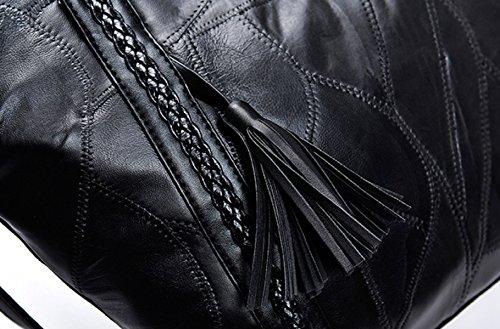 Bolsos De Hombro De Mujer Moda De Piel De Oveja Que Teje Las Borlas Señoras Que Cose El Bolso Del Shopper Del Recorrido Del Ocio Black