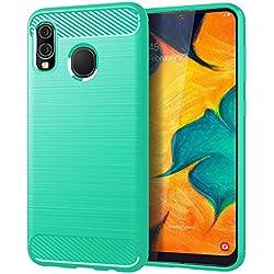 Samsung A20 case,Galaxy A20 Case,Galaxy A30 Case,MAIKEZI Soft TPU Slim Fashion Anti-Fingerprint Non-Slip Protective Phone Case Cover for Samsung Galaxy A20/A30(Mint Brushed TPU)