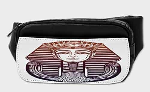 d68533b834c Lunarable Egyptian Bumbag, Vintage Spiritual Pharaoh, Fanny Pack Hip Waist  Bag