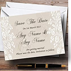 Vintage Lace Beige Chic Personalized Wedding Save The Date Cards