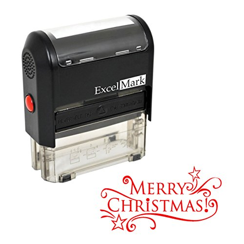 Self-Inking Christmas Rubber Stamp - MERRY CHRISTMAS - RED INK