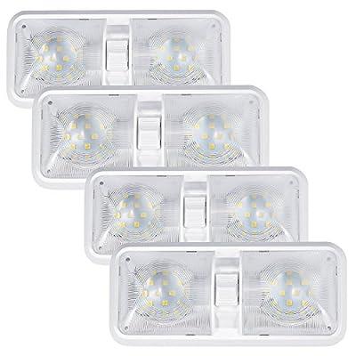 Kohree 12V Led RV Ceiling Dome Light RV Interior Lighting for Trailer Camper with Switch, White(Pack of 4)