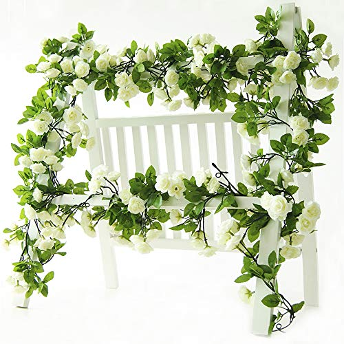 Li Hua Cat artificial flower 60 heads rose vine garland artificial Flowers plants for wedding home party garden craft art decor 2pcs (Spring-white)