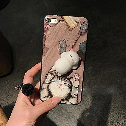 Phone Case & Hülle Für iPhone 6 Plus und 6s Plus 3D Katze Muster Squeeze Relief IMD Verarbeitung Squishy schützende Rückseite Case ( Size : Ip6p3697a )