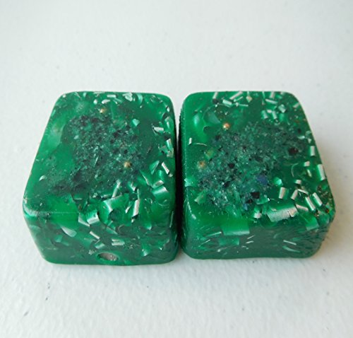 Emerald Green 2 Mini Cube Tower Busters Crystal Orgone Generator Energy Accumulator 528Hz/7.83Hz/Advance Harmonics Many Beautiful Ingredients and Colors!! (Emerald Green)