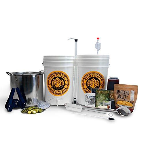 Brew. Share. Enjoy. Homebrew 5 Gallon Beer Brewing Starter Kit with Block Party Amber Ale Beer Recipe Kit and Brew Kettle - Lamp Brewers