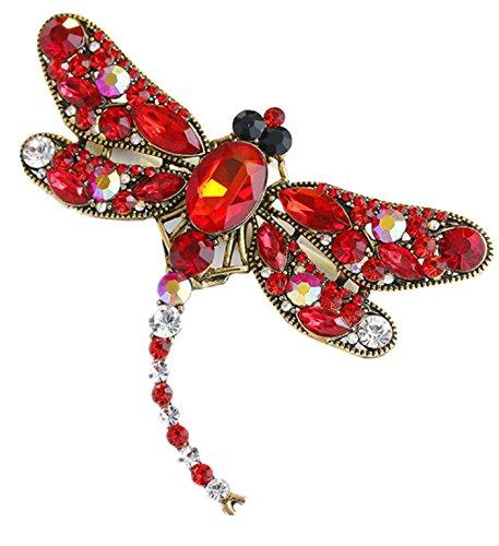 Micrkrowen High-Grade Diamond Dragonfly Brooch(Red) - Diamond Dragonfly Brooch
