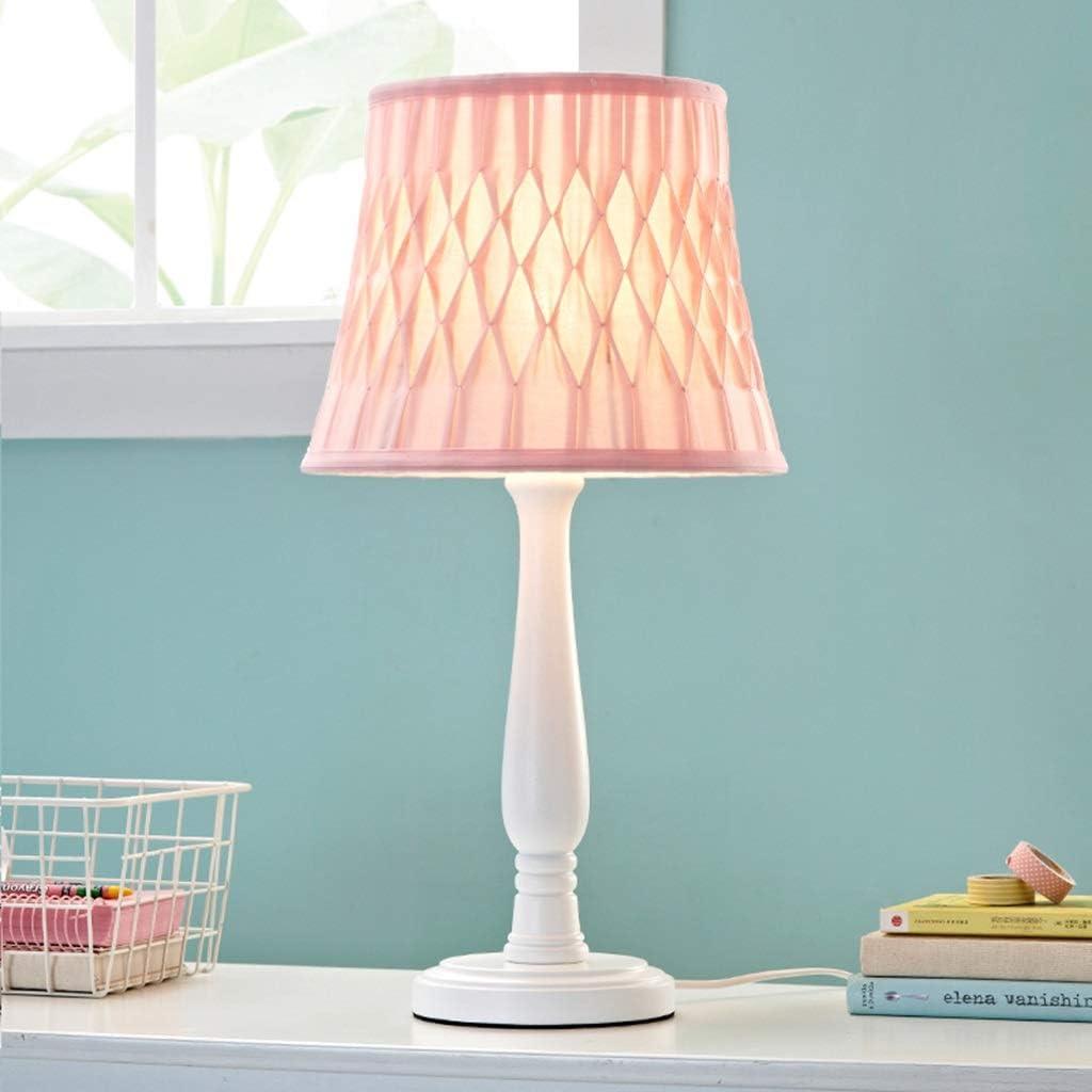 Children Bedside Table Lamp Pink Girl Wood Nightstand Desk Lamp