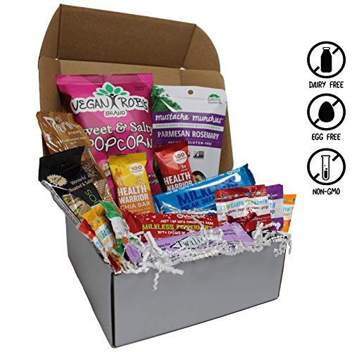 Parmesan Vegetarian (Vegan Holiday Assorted Snack Box- Rich Chocolates, Peppermint Bark, Smoky Jerky, Sweet & Salty Popcorn, Rosemary Parmesan Crackers, Chia Bars, and more! 100% VEGAN AND NON-GMO! - VeganWorks - (15 ct.))