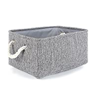 TheWarmHome Collapsible Rectangular Household Fabric Storage Organizer Basket with Handles for Kids,Grey