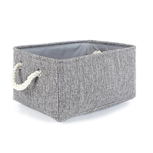 (TheWarmHome Grey Linen Storage Basket for Shelves, Storage for Toys,Fabric Organizer Bins)