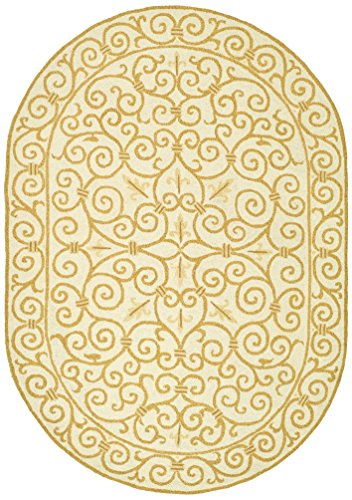 - Safavieh Chelsea Collection HK11P Hand-Hooked Ivory and Gold Premium Wool Oval Area Rug (4'6
