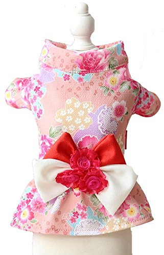 MaruPet Brocade Japanese Kimono for Girl Floral Pet Halloween Costume Bowknot Dog Dress for Small, Extra Small Dog Wiener Dog Teddy, Pug, Chihuahua, Shih Tzu, Yorkshire Terriers, Papillon Pink M