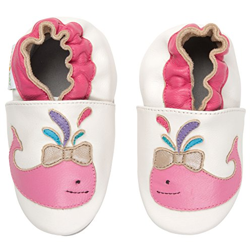 Momo Baby Girls Soft Sole Leather Crib Bootie Shoes - 18-24 Months/6-7 M US (24 Baby Footwear Boots)