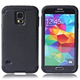 DeeXop Hybrid Body Armor Silicone Samsung S5 Case, [Drop Protection] [Shock-Absorption] Hybrid Dual Layer Armor Defender Protective Case Cover for Samsung Galaxy S5