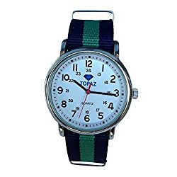 Topaz Unisex T10BZ113 Any Time Casual Weekend Silver-Tone Watch with Blue and Green Nylon Band.