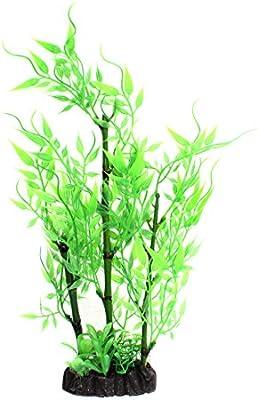 sourcing map Acuario de Agua Artificiales de plástico Verde Pasto Plantas de bambú 28cm de Alto.