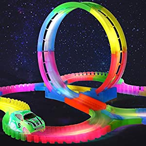 HALOFUN 132PCS Magic Race Tracks Car Toys for Kids (Colorful-1)