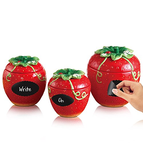 3-Piece Red Ceramic Canister Set, Fresh Strawberry Fruit Shape, Set of 3 with Removable Chalkboard Labels Fruit Kitchen Canisters