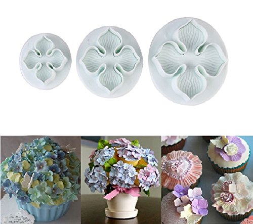 gea Laurustinus Flower Fondant Cookie Cake Decorating Sugarcraft Plunger Cutters DIY Mold (Hydrangea Sugar)