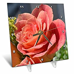 3dRose dc_24954_1 Antique Peach Rose Peach Colored Rose-Desk Clock, 6 by 6-Inch