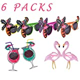 Brightone Flamingo Sunglasses, 6pcs Luau Hawaii Funny Party Sunglasses Fit Kids and Adult in The Beach, Stag-Night, Festivals, and Carnivals