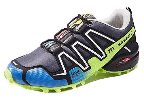 Herren Trail Running Schuhe Leistung im Freien Schnürschuhe Trail Runner von JiYe Grau Grün