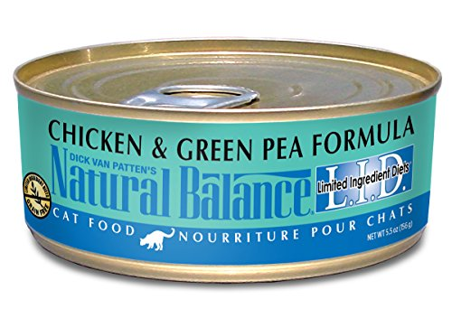 Natural Balance L.I.D. Limited Ingredient Diets Wet Cat Food, Chicken & Green Pea Formula, 5.5-Ounce Can (Pack of 24)