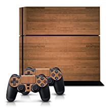 kwmobile Sticker decal set for Playstation 4 gaming device and 2 controller Design wood pattern