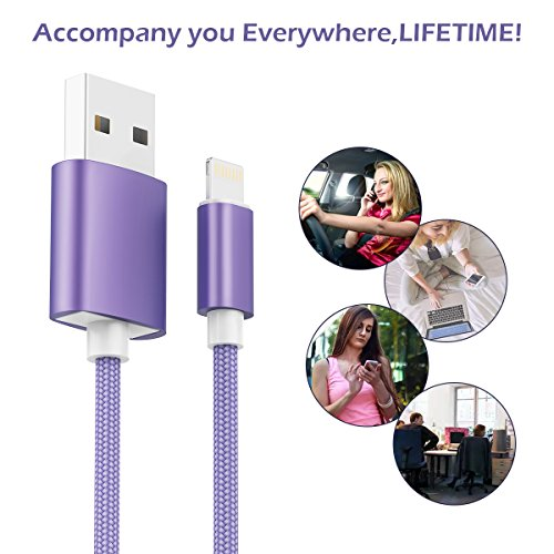 KidKer 4 Pack Lightning iPhone Charger Cables 3ft 3ft 6ft 10ft USB Chagring Certified Nylon Braided Cord Short for iPhone 7 Plus 6S 6 5 5S 5C SE iPad Pro Air Mini 2 3 4 iPod Touch (Purple ( 4 Pack )) by KidKer (Image #5)