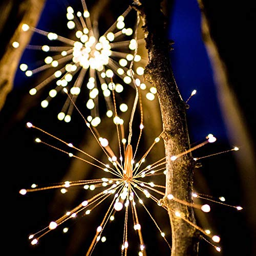Allytech Pretty Firework Lights - 40 Branches Copper Wires 200 LED 8 Modes Dimmable String Fairy Lights Decorative Hanging Starburst Lights Solar Powered for Party Home Bedroom Outdoor-07 B Warm
