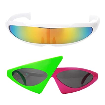 06a6bc995a B Baosity Pack of 2pcs Futuristic Narrow Roy Purdy Glasses Funny Party  Sunglasses Fancy Dress Christmas
