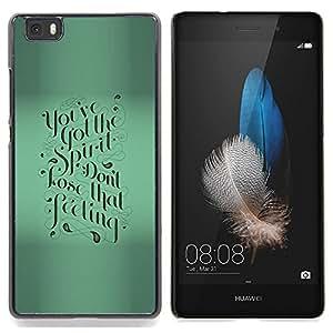 Stuss Case / Funda Carcasa protectora - Verde motivación Caligrafía texto de Blur - Huawei Ascend P8 Lite (Not for Normal P8)